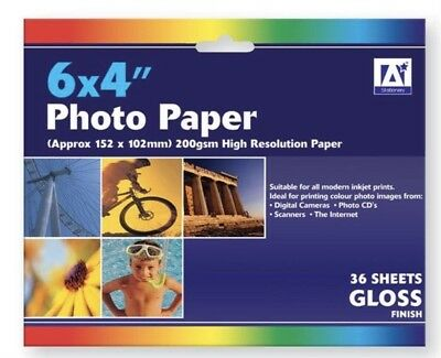 6 x 4 Advanced High Resolution Photo Paper 36 Sheets 200 gsm Inkjet Printer