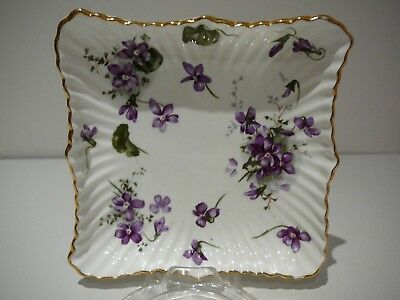 """Hammersley """"Victorian Violets"""" Square Dish England Pretty Purple Floral"""