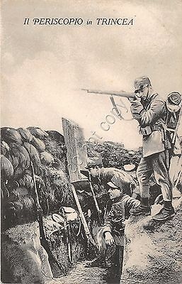 Cartolina - WW1 - Periscopio in trincea - soldati - 1916