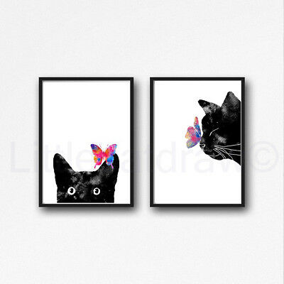 Butterfly Cats Set Of 2 Watercolour Painting PRINT 8x10 Wall Art
