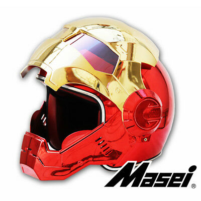MASEI 610 Gold Red Iron Man Helmet Plating Chrome Electroplate Open Face ABS New