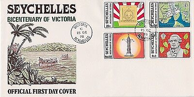 Seychelles 1978 First Day Cover - Stone Of Possessn, Map, Clock Tower, P Poivre