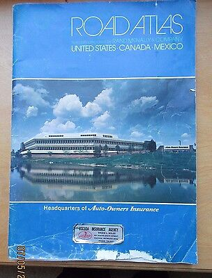 VINTAGE Auto-Owners Advertise RAND McNALLY ROAD ATLAS-CANADA, USA, MEXICO- 1984