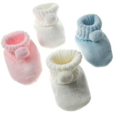 Baby Newborn Knitted Pom Pom Booties Boy Girl  Bootee White Blue Pink Soft Touch