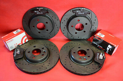Front Rear Performance Drilled Grooved Brake Discs + Pads Ford Focus St225 Mk2