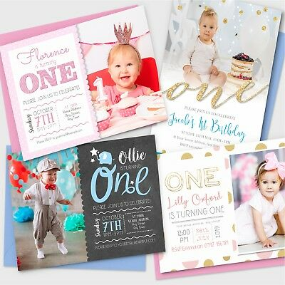 Personalised 1st Birthday Invitations First Party Invites Photo Boy Girl (G1)