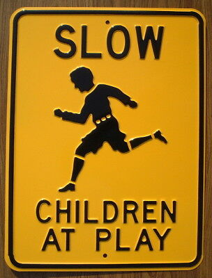 SLOW CHILDREN AT PLAYSteel Street Sign decor signs cars picture Home  novelty