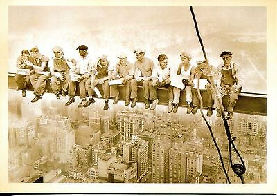 Post Card Of Steel Workers Eating Lunch While Working On Empire State Building
