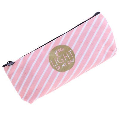 Pencil Case Bag - Makeup Bag Case with Zipper - Canvas Pink and White Stripe