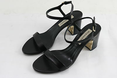 NWT Burberry Ladies Black Check-Detail Ankle Strap Leather Sandals Size 38