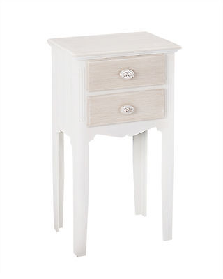 Pair of Louis White Painted 2 Drawer Bedside Cabinets / French Style Nightstands