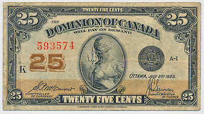 Dominion Of Canada 25 Cents 1923 Shinplaster Dc24C Series K - F