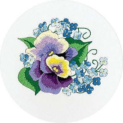 Cross Stitch Embroidery  Kit by Panna C-0944 Pansies and Forget-me-nots