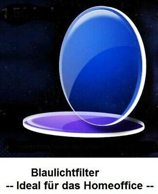2 Brillengläser Kunststoff 1,67AS BLAUFILTER mit H-SET+Lotus PC/Tablets/Handys