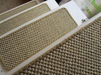 8 stair pads treads sisal Seagrass carpet 56cm x 20cm bronze gold/natural