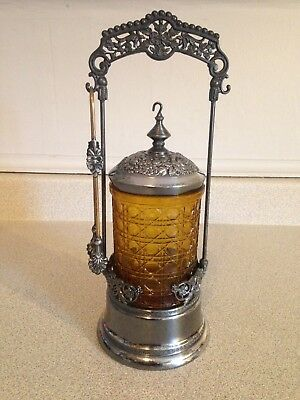 Antique Victorian Fine Silver Plate And Amber Glass Pickle Castor Jar With Tongs
