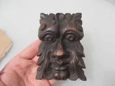 Victorian Carved Wooden Face Antique Old Gilt Leaf Green Man Georgian Wood