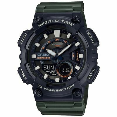 Casio AEQ110W-3AV Men's World Time Telememo Analog Digital Alarm Chrono Watch