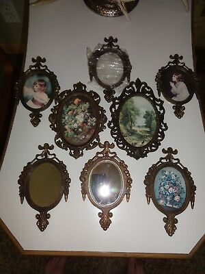 Mixed Lot of 8 Vintage Ornate Filigree Ormolu Brass Picture Frames Mirrors Italy