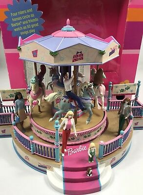barbie holiday go round carousel figurine decoration musical mr christmas