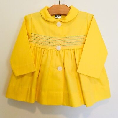 Vintage FAWN TOGS Baby Smocked BRIGHT YELLOW Spring Jacket 12 M