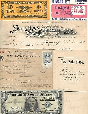 HUGE World Paper Document Lot: 69 items w/20 banknotes