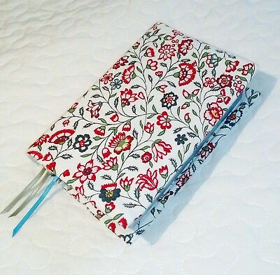 Floral pink and white padded Bible/book cover