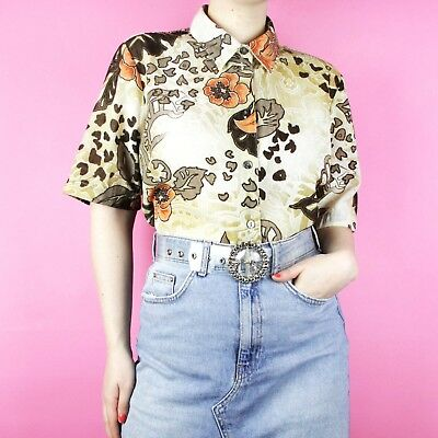 VINTAGE 80s 90s 70s Hawaiian Floral Brown Orange Animal Beige Shirt Blouse Top
