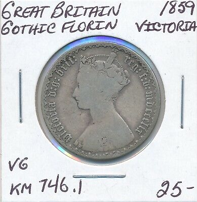 Great Britain Gothic Florin  Km746.1 1859 Victoria - Vg