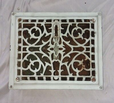 Antique Cast Iron Floor Wall Heat Grate 9x8 Louvres Victorian Design  119-18F