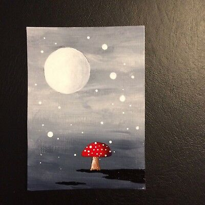 ACEO Original Acrylic Hand Painted Red Mushrooms Night Sky Fantasy Moonscape