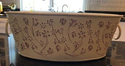 Oval Tin Bucket Ivory With Red flowers Handles Kitchen Decor Planter Farmhouse