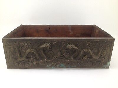 Vintage Chinese Bronze Box With Dragons
