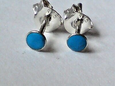 STERLING SILVER /& TURQUOISE SQUARE 3mm.STUD EARRINGS £6.50 NWT