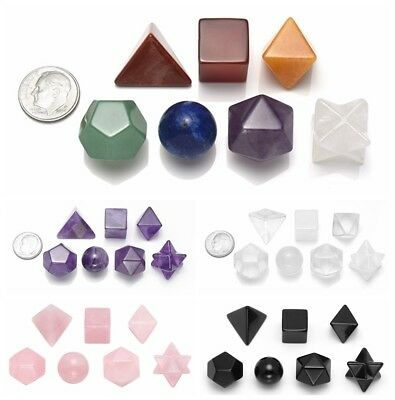 Mixed Chakra Quartz Crystal Amethyst Platonic Sacred Solids Geometry Set Gift