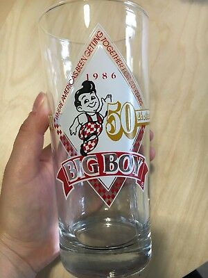 3 Big Boy Restaurant 50 Year 50th Anniversary Glass Glasses Tumbler 1936 1986