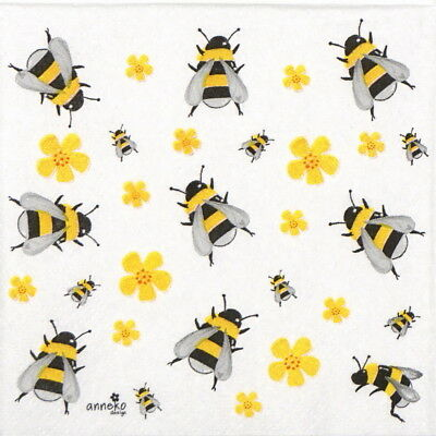 6x Cocktail 25x25cm Paper Napkins for Decoupage Party Craft Dancing bees