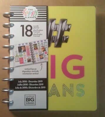 "NEW DESIGN! CLASSIC Happy Planner ""# BIG PLANS"" 18-Month VERTICAL"
