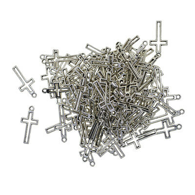 100pcs Fashion Ancient Sliver Cross Charms Pendents Connectors Craft Supply