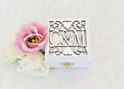 Personalised White Wooden Double Wedding Ring Bearer Box / Ring Pillow
