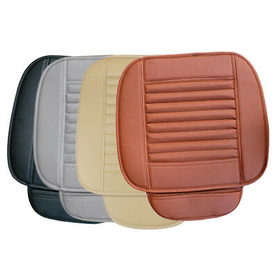 Car Front Seats Mat PU Leather Bamboo Single Bucket Seat Protector Cover Cushion