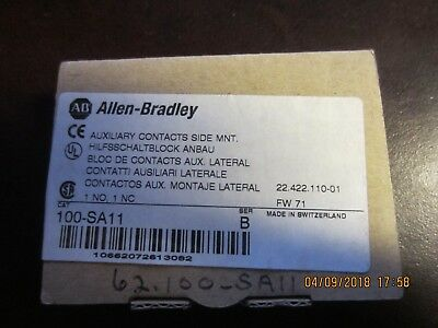 ALLEN BRADLEY 100 SA11 Side Mount 1 NO 1 NC Auxiliary Contact