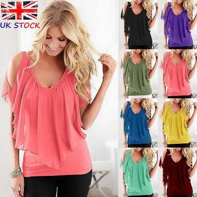 2019 Spring UK Womens Tee Chiffon Ladies Bandeau Crochet Lace Shirt Blouse Tops