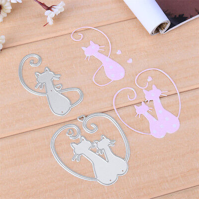 Love Cat Design Metal Cutting Dies For DIY Scrapbooking Album Paper Cards UK