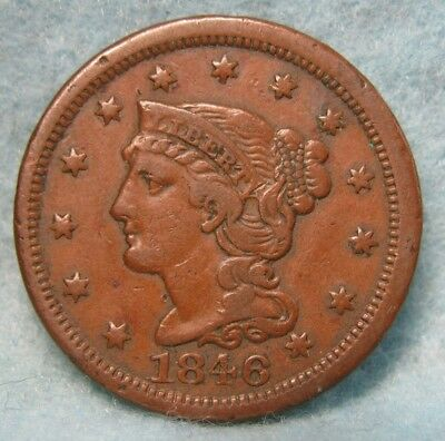 1846 Small Date Braided Hair Large Cent VF * US Coin *