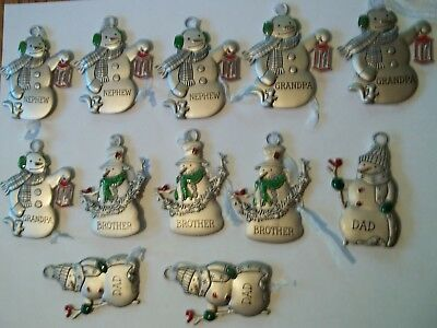 hallmark ornament lot 12 Snowman Ornaments For Holiday or Key Chain.