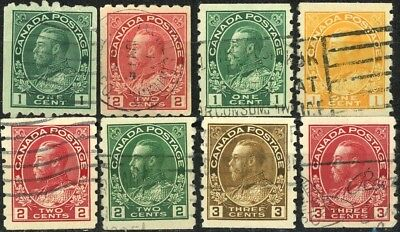 Canada KGV Admiral Coil Issues Complete Used Set 8 Scott's 123 to 130 As Shown