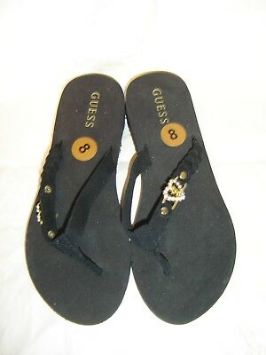 3930cc0ac959 Guess Women s Flip Flops Thongs Black Size 8 With Rhinestone Heart On Strap  Nwt