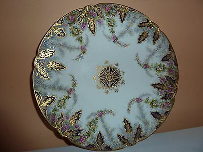 Late 19Thc Copeland China 23Cm Cabinet Plate With H/p Flowers & Blue/gilt Leaves