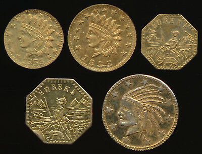 5 California Gold Souvenir Tokens/charms 1849 1853(2) 1857(2) Must See > No Rsrv